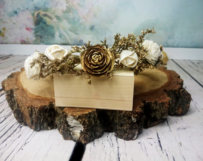 Gold floral CROWN WREATH delicate ivory sola flowers glamour retro wedding dried flowers Flower girl Bride elegant small 20s great gatsby