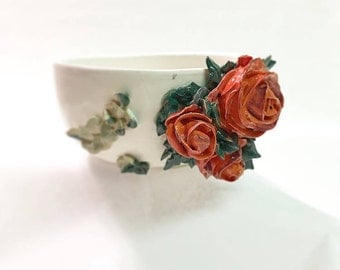 Handmade Bowl with Piped Flowers