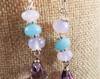 Gemstone Earrings: Opalite, Jade, and Amethyst Teardrops with Silver Fittings