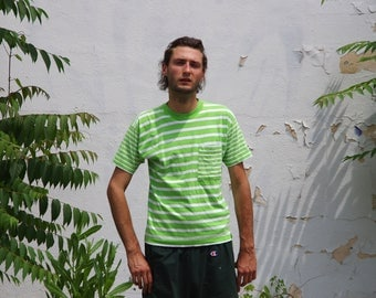 90's STRIPED POCKET T-SHIRT lime green / white ringer size small by liz wear
