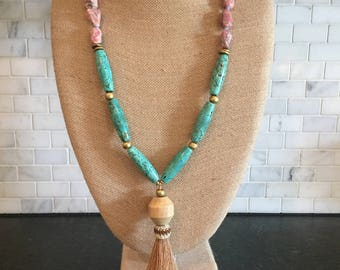 Horsehair tassel beaded necklace