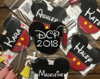 Front and Back-Double Personalization Mickey Mouse Inspired Tassel Keychain-Annual Passholder-Disney-Disney College Program