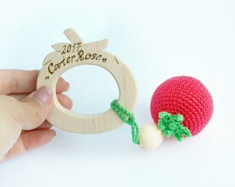 Personalized teether, wood teether,Baby rattle, wooden toy, personalized baby gift, newborn gift, eco toy, crochet vegetables,Baby gift