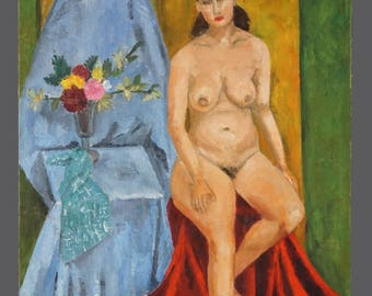 1954 Emma Ferry Oil Painting Woman Nude Vintage Art On Canvas Panel Board 18 x 24