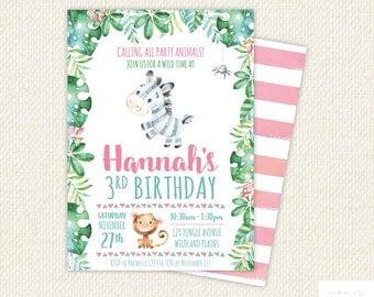 Zebra Birthday Party Invite, Zebra birthday Party Invite, Zebra Birthday Invitation, Zebra party, zebra invitation, jungle party, printable