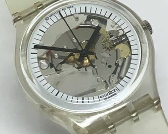 Swatch Watch White Jelly Fish 34mm Clear Skeleton See Through