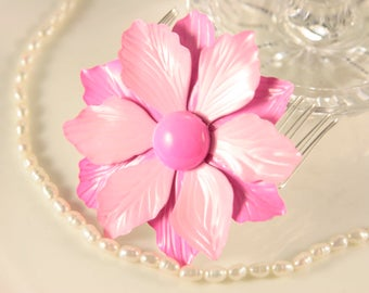Pink Hair Comb Flower Hair Clip Bridal Hairpiece Wedding Hair Accessory Pink Statement Hair Comb Blush Pink Bridal Comb Enamel Flower Clip