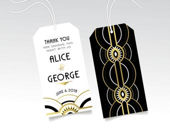 Great Gatsby Thank You Wedding Tag in Gold Black White PRINTED Favor Hang Tag & String Brunch Welcome Bag Art Deco 1920s New Years The ALICE