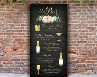 Signature Cocktails Drink Menu Large PRINTED Sign . Blush White Ranunculus Gold Script Navy Chalkboard Pink Peony Garland Rose Dusty Miller