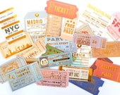 24 loose ticket stickers with gold foil details   sticker flakes   die cuts   die cut stickers   envelope seals