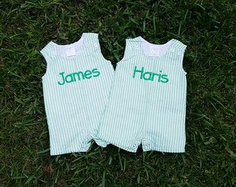 Baby Boy Monogrammed Jon Jon - Green Jon Jon - Seersucker Jon Jon - Baby Boy Outfit - Baby Shower Gift