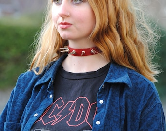90s Style Spiked Leather Punk Choker Collar