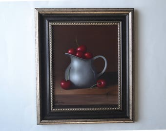 Acrylic 8x10' red cherries painting, small still life painting, cherry artwork, kitchen painting, tiny fruit painting, food miniature, art