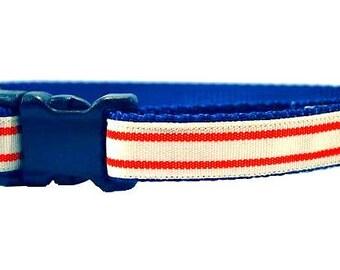 "Red Stripe Dog Collar, Double Stripe Dog Collar, Striped Dog Collar, Boy Dog Collar, Nautical Collar, 3/4"" thick collar, breakaway collar"