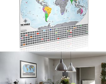 "Scratch Off Map -  XL Travel Tracker World Map - 24""x 36"" Platinum edition - Made in the USA. Perfect Gift Idea for Travel Lovers"