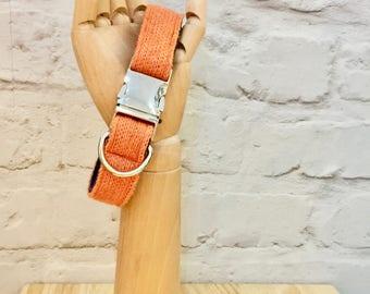 Dog Collar, Orange & Navy, Cotton/lambswool knitted dog collar