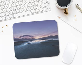 Purple Sunset Computer Gifts, Beach Sunset Mousepad Photo Print, Laptop Accessories, Office Gifts, Mouse Pad Nature