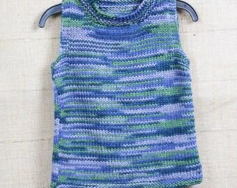 Unisex sleeveless sweater vest, blue and green variegated wool vest, toddler boy vest, wool sweater vest