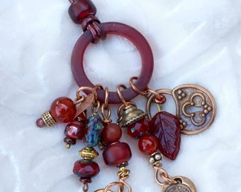 Charm Necklace (Burgundy) on adjustable leather cord