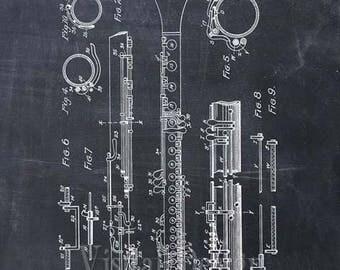 Clarinet Patent Print Clarinet Art Print