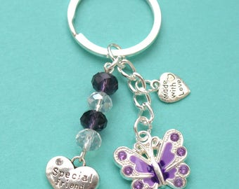 Special Friend Keyring with Butterfly Crystal and Hearts New Gift LB6