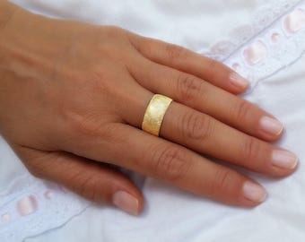 14k yellow gold ring wide wedding band womens wedding ring rustic wedding ring