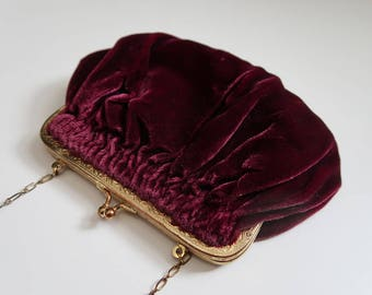Stunning Burgundy Velvet Antique Clutch with Gold Chain