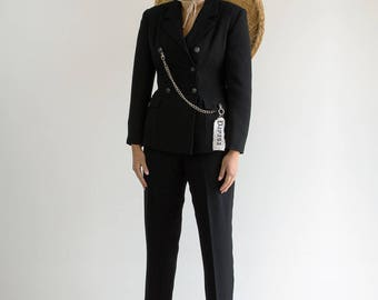 90s Classic Black Suit / Double Breasted Blazer x High Waisted Pants / Fits a Small