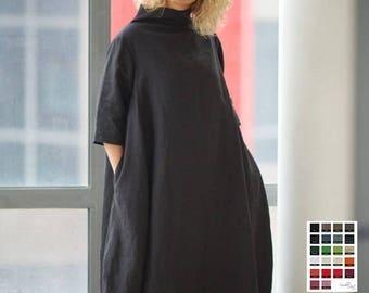 SALE Maternity Dress, Linen Dress, Maxi Linen Dress, Cowl Neck Dress, Extravagant Dress, Maternity Clothing, Black Maxi Dress, Gothic Dress