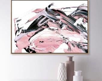 Printable Abstract Art, Pink and Gray Art, instant download art, Large Abstract Art, Pink and Blue Art, 24x36 print, living room art