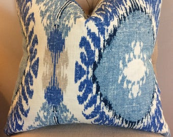 Handmade Decorative Pillow Cover - Medallion - Richloom Chimayo Baltic - Blue - Navy - Light Blue - Royal Blue