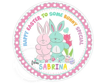"Custom Easter Bunnies Printable 2.5"" Tags-Happy Easter Holidays D.I.Y Tags- Personalized Stickers (You Print) 2.5"" tags-Digital file"