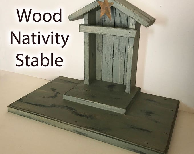 STABLE WOOD CRECHE fits Willow Tree Angels Nativity Distressed Barn Christmas Decor Stables Manger Angel Burgundy Red Green Baby Jesus Mary