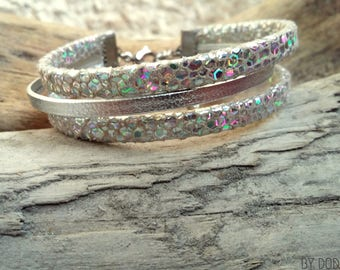 Leather bracelet silver plated reptile and holographic Boho jewelry By Dodie