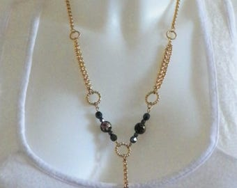 Cloisonne beads and gold chain necklace