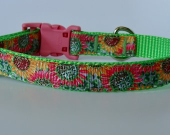 Lime Green Sunflower Small Dog Collar - READY TO SHIP!