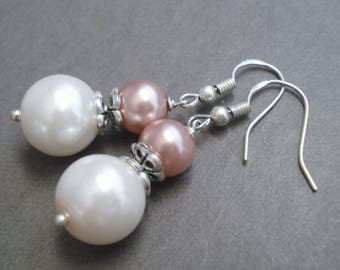 Sterling Silver Pearl Earrings Wedding Jewelry Bridesmaid Gift White Pearl Jewelry Dangle Earrings Bead Jewelry Silver Earrings Gift For Her