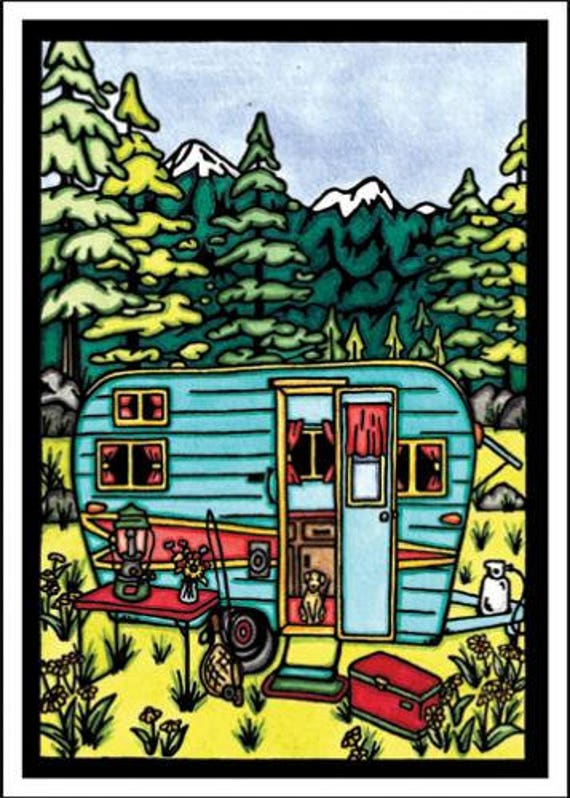 Camping - Single Blank Sarah Angst Greeting Card - Outdoor Adventure