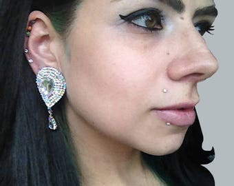 "Caress of Steel Rhinestone Big EAR PLUGS dangle earrings pick gauge 13/16"", 11/16"", 7/8"", 1"", 1 1/16"" 1.18"" - 20mm, 22mm, 25mm, 28mm, 30mm"
