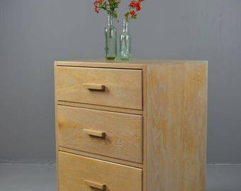 Vintage Limed Oak Deco Style Chest Of Drawers
