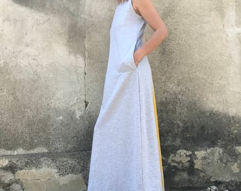 Maxi Kaftan Dress, Plus Size Dress, Sleeveless Dress, Gray Kaftan, Long Dress, Casual Dress, Cotton Dress, Summer Dress, Long Kaftan