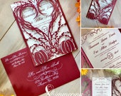 Pumpkin Heart wedding invitation gatefold laser cut autumn fall halloween party wreath outdoor invite