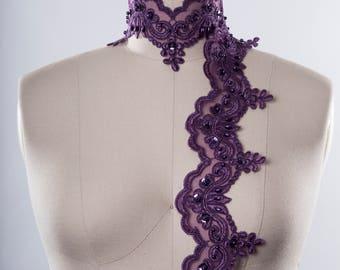 Eggplant Purple Beaded Lace Trim. Deep Purple. Scallops and Sequins.