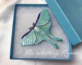 LUNA MOTH BROOCH Luna Moth Pin Luna Moth Jewelry Butterfly Pin, One of a Kind, Hand Sculpted Aqua Purple Yellow