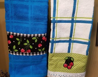 Set of Two Towels, Cherry Towel Set, Embellished Towels, Turquoise Towels, Decorative Kitchen Towels, Housewarming Gift, MarjorieMae