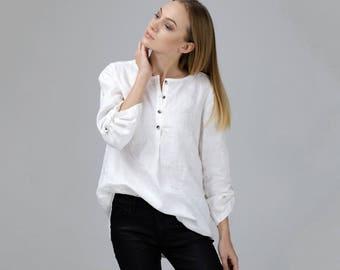 White Linen Shirt / Oversized Shirt / White Linen Tunic / White Linen Top / Long Washed Shirt / Loose Fit Top / Loose Shirt / Oversized Top