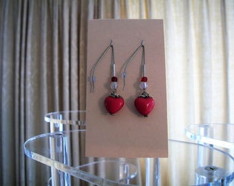 Valentines Day earrings! Made from broken jewelry, handmade, upcycled, vintage beads