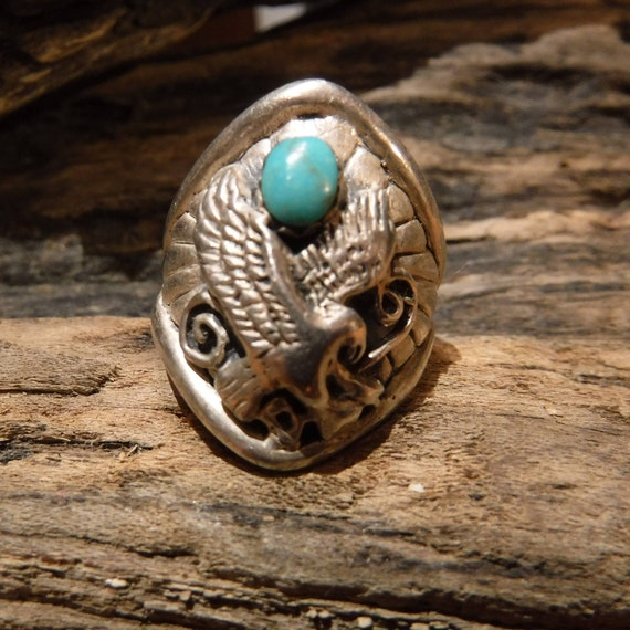 Vintage Mens Large Silver Eagle Ring Navajo Native American Size 9.75 Mens Turquoise Ring 12.8 Grams Sterling Silver Ring Signed Mens Rings