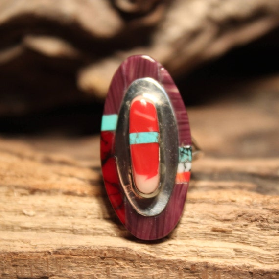 Vintage Navajo Zuni Native American Silver Ring Weight 4.1 Grams Size 6  Singed TGO Turquoise Ring Coral Ring Inlay Sterling Silver Ring