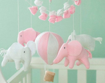 Elephant mobile, hot air balloon mobile, balloon nursery, white and pink baby mobile, baby girl mobile, baby shower gift, white baby bedding